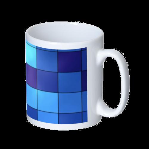 青ブロック作成したデザイン マグカップ  ホワイト