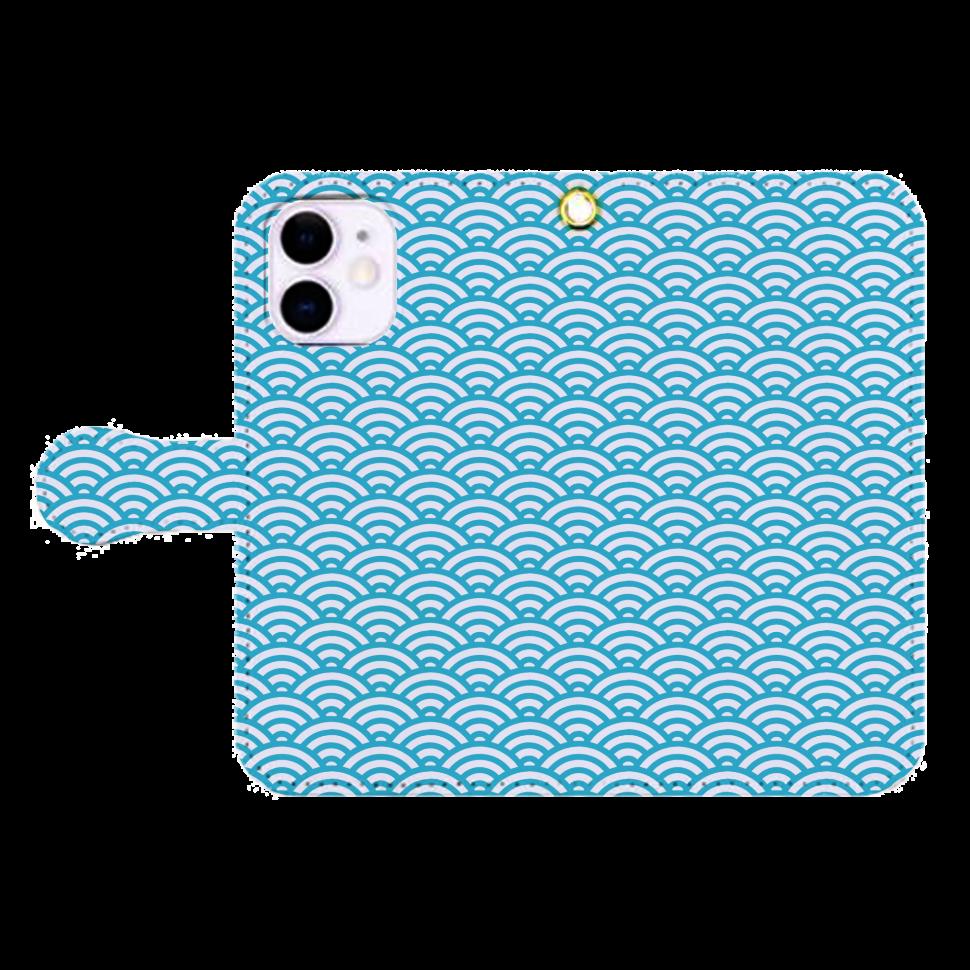 和柄 青海波 帯付き iPhone12mini 手帳型スマホケース iPhone12mini 手帳型スマホケース