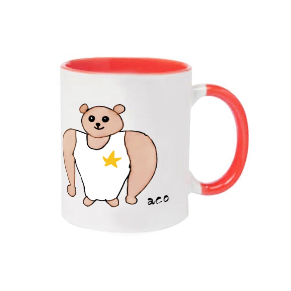 肩幅のイカツい熊マグカップ 2トーンマグカップ