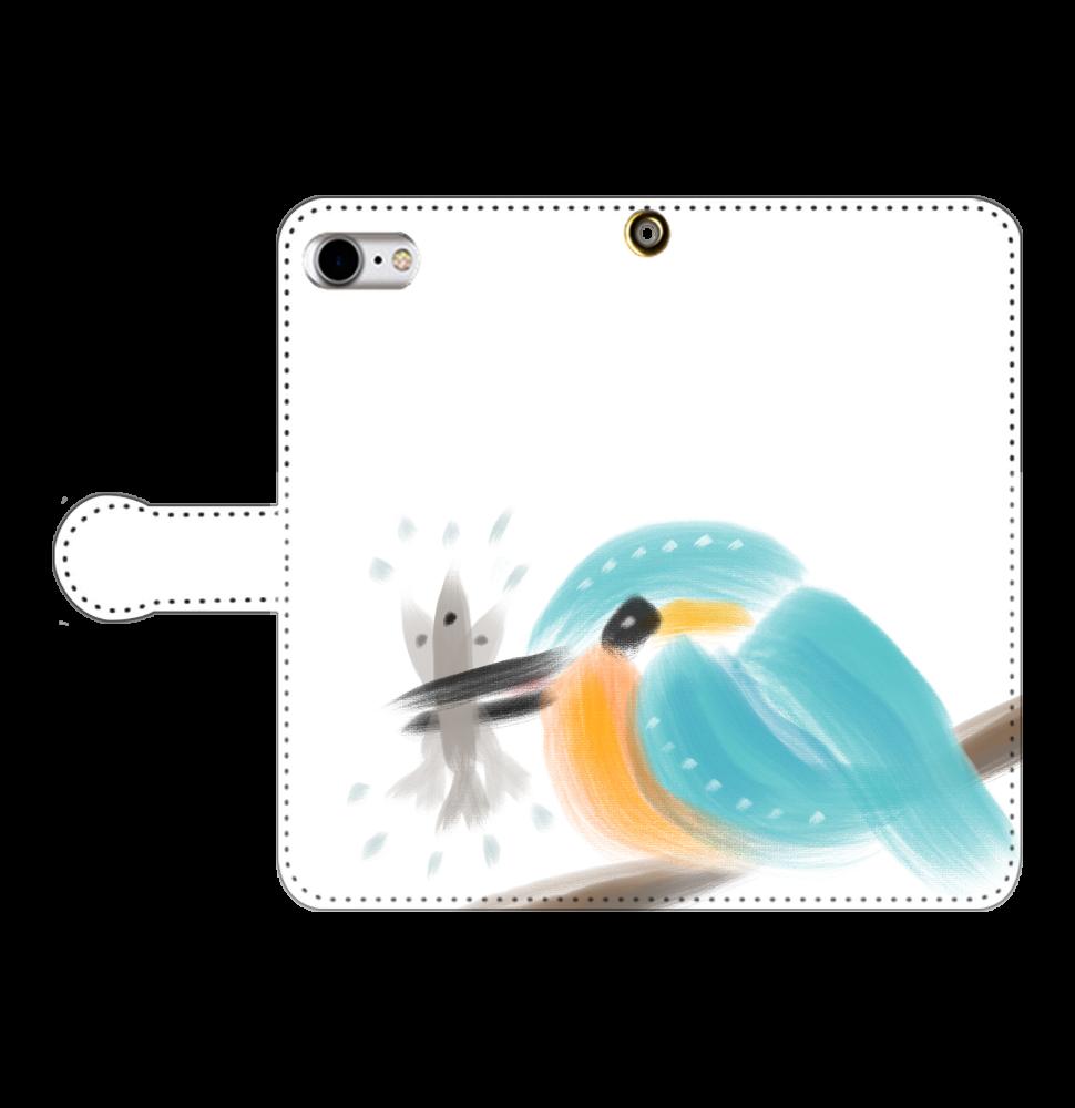 カワセミさんとお魚さん iPhoneSE2 手帳型スマホケース