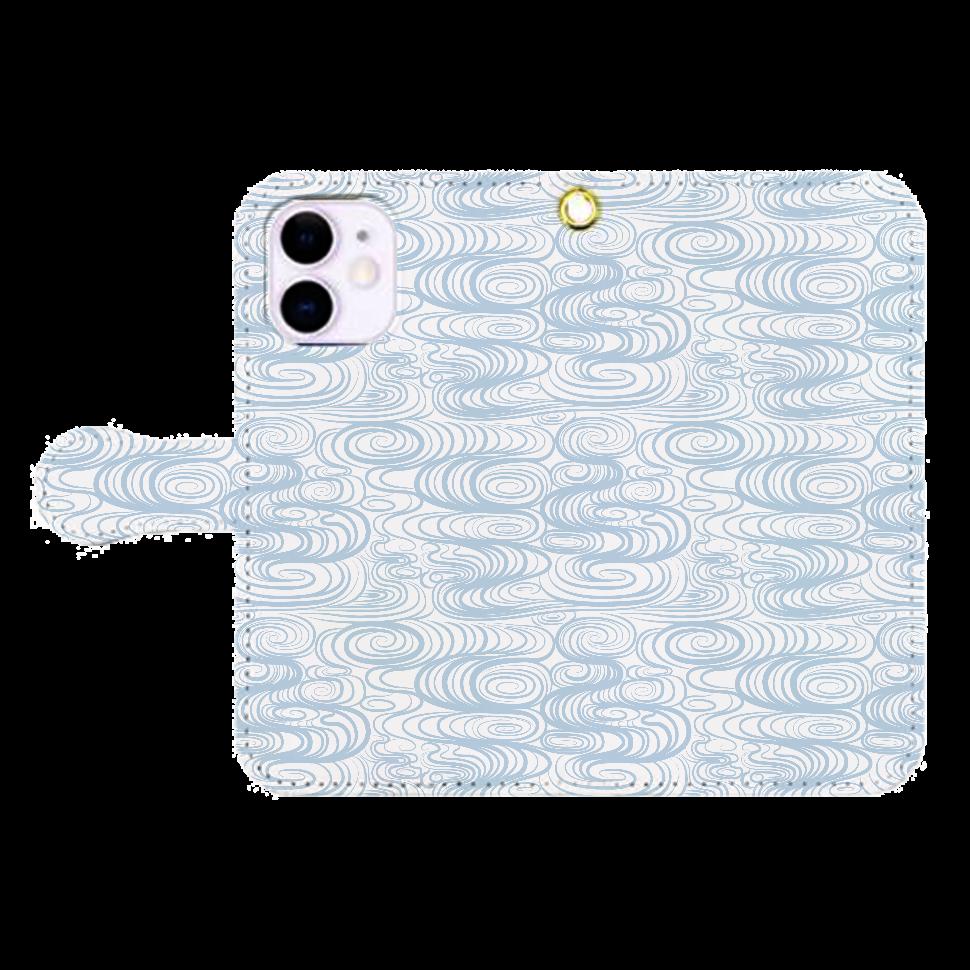 和柄 渦巻き模様 帯付き手帳型iPhone12ケース iPhone12mini 手帳型スマホケース