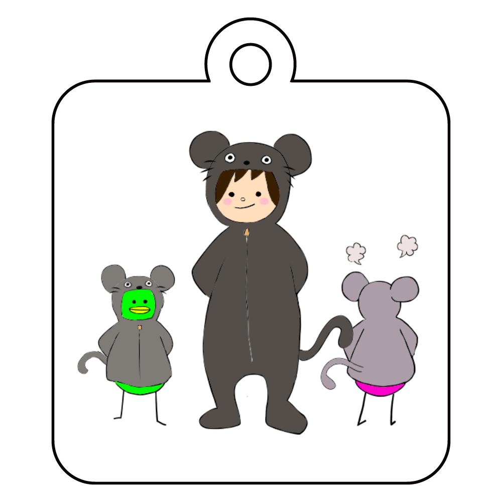 ネズミの着ぐるみすんこ アクリルキーホルダー 四角型 (4cm)
