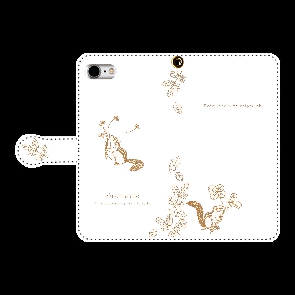シマリスの手帳型iPhoneケース 手帳型ベルト付きiPhone8