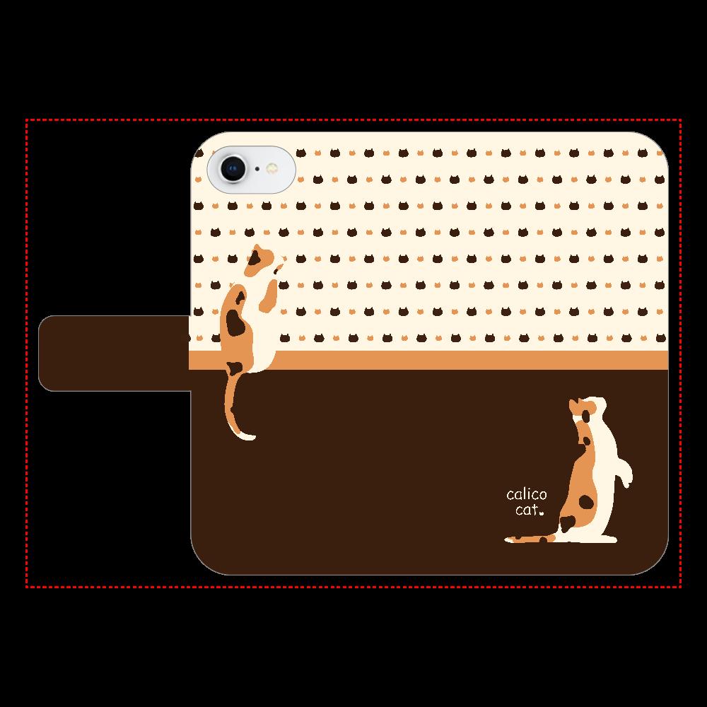 calico cat iPhone6/6s 手帳型スマホケース ベルトあり3ポケット
