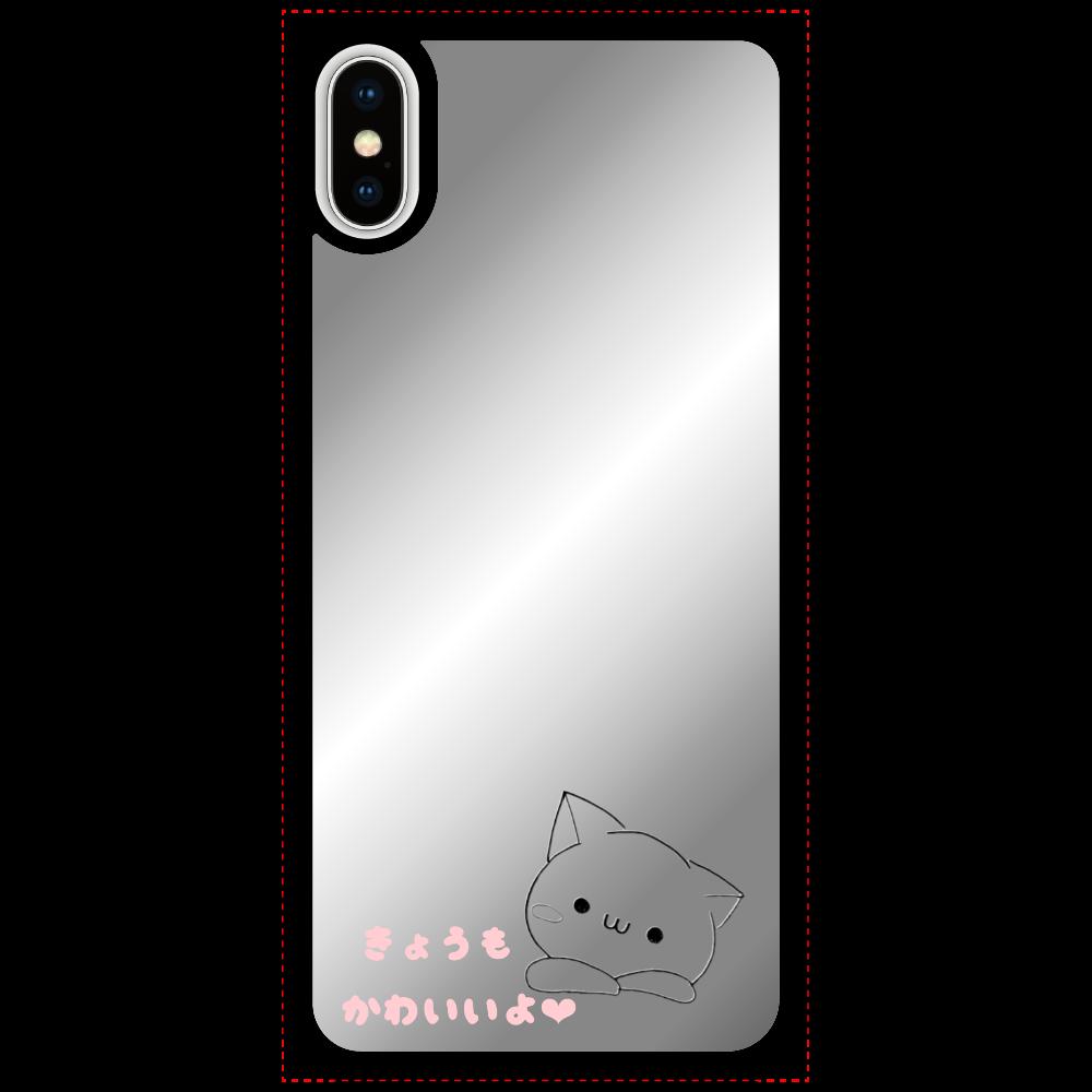 かわいい iPhoneX/Xsミラーパネルケース