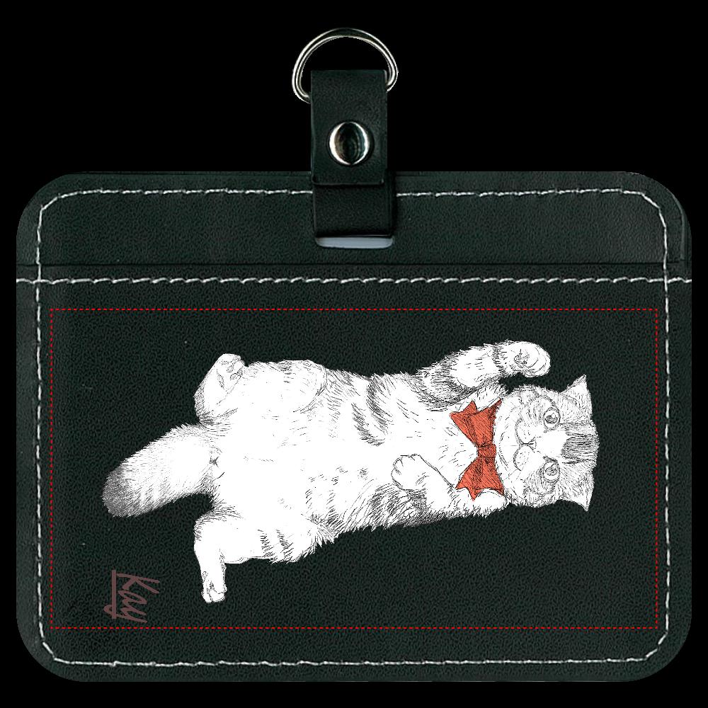 スコティッシュ猫のカイ君 パスケース ブラック オリジナルパスケース