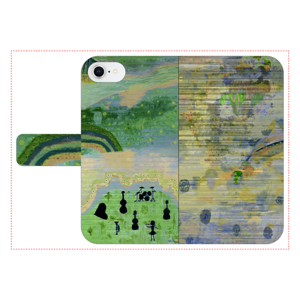 シャッターペイント『music』 iPhone6/6s 手帳型スマホケース ベルトあり3ポケット