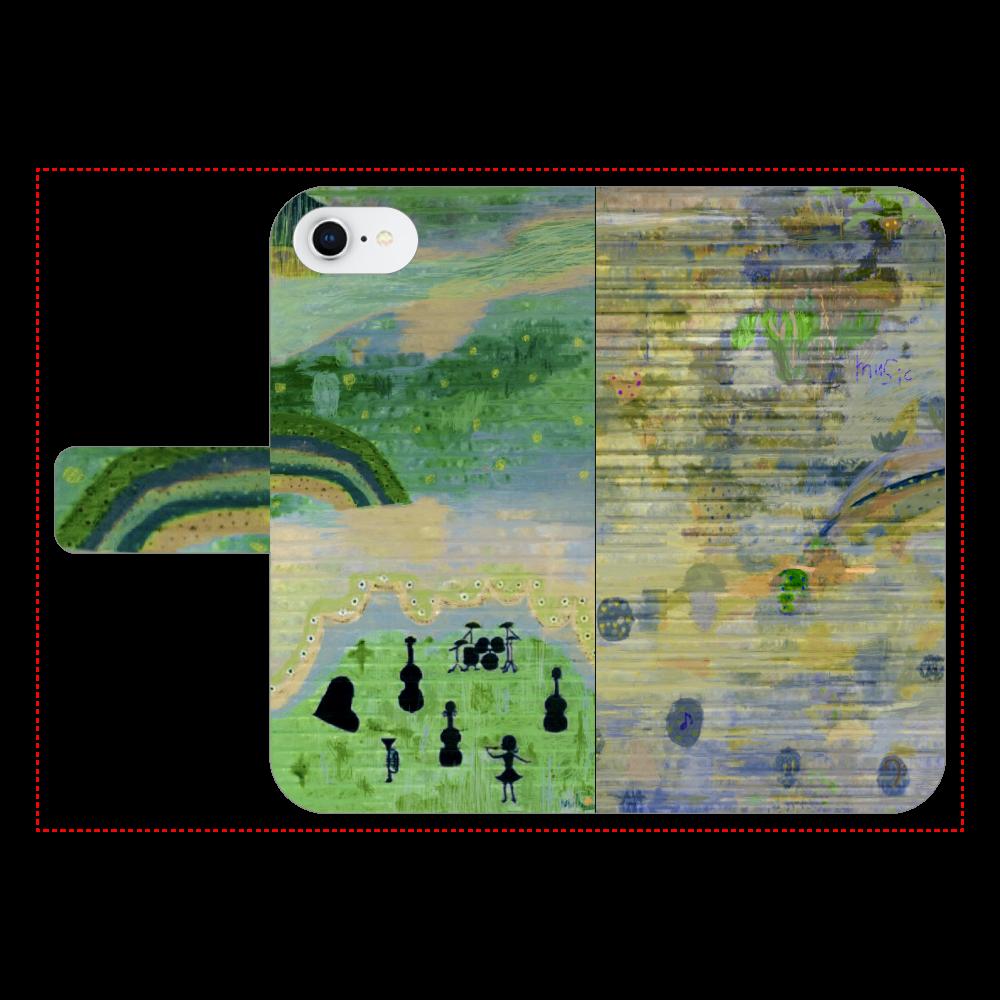 シャッターペイント『music』 iPhone7 手帳型スマホケース ベルトあり3ポケット