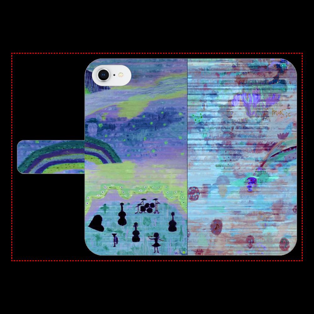 シャッターペイント『night music』 iPhone7 手帳型スマホケース ベルトあり3ポケット