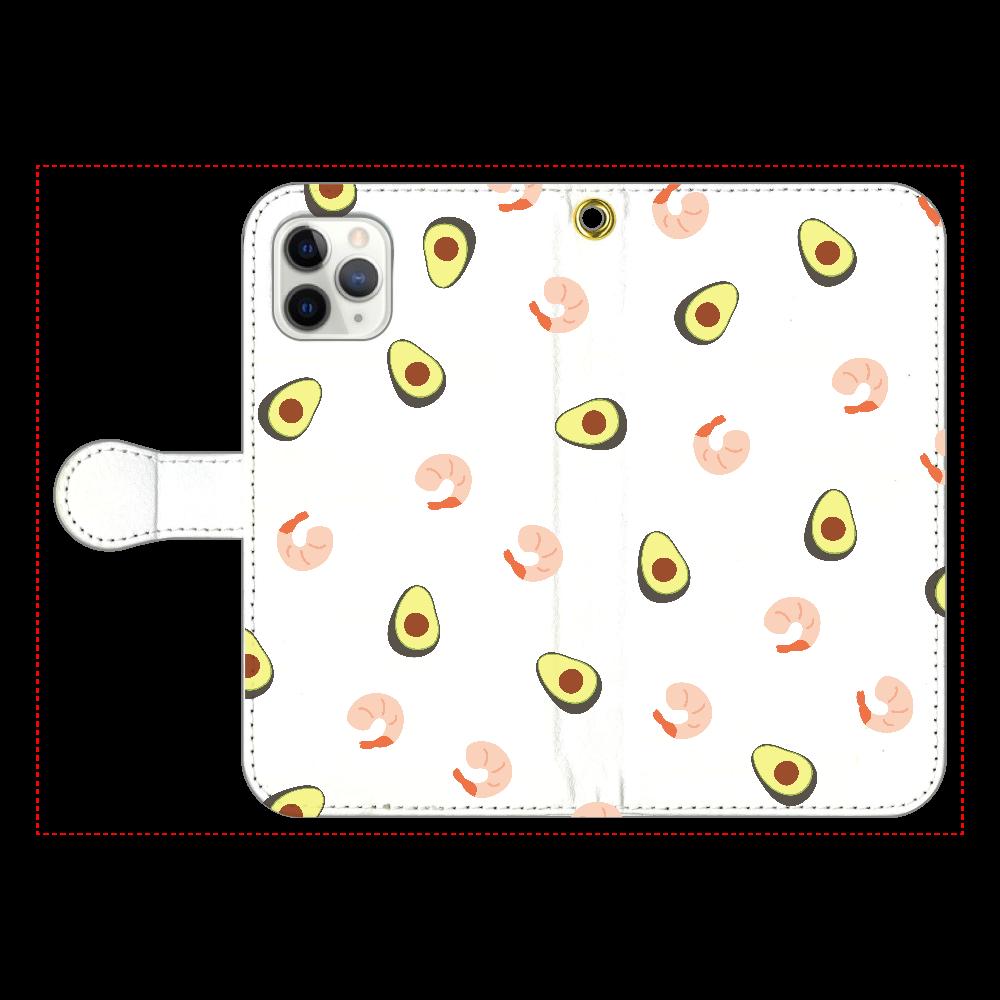 えびあぼいっぱい 手帳型スマホケース iPhone11 Pro 手帳型スマホケース