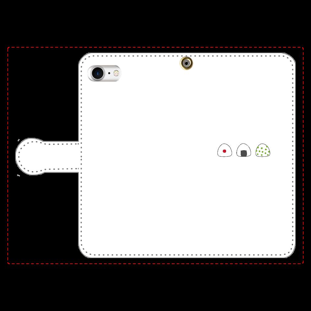 おにぎり3つ 手帳型スマホケース iPhone8 手帳型スマホケース