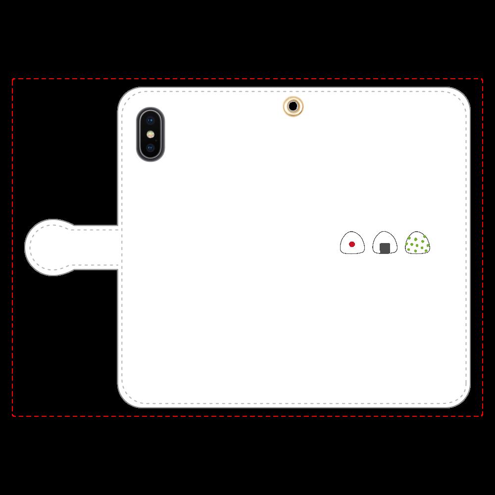 おにぎり3つ 手帳型スマホケース iPhoneX/Xs 手帳型スマホケース