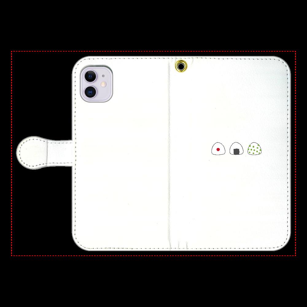 おにぎり3つ 手帳型スマホケース iPhone11 手帳型スマホケース