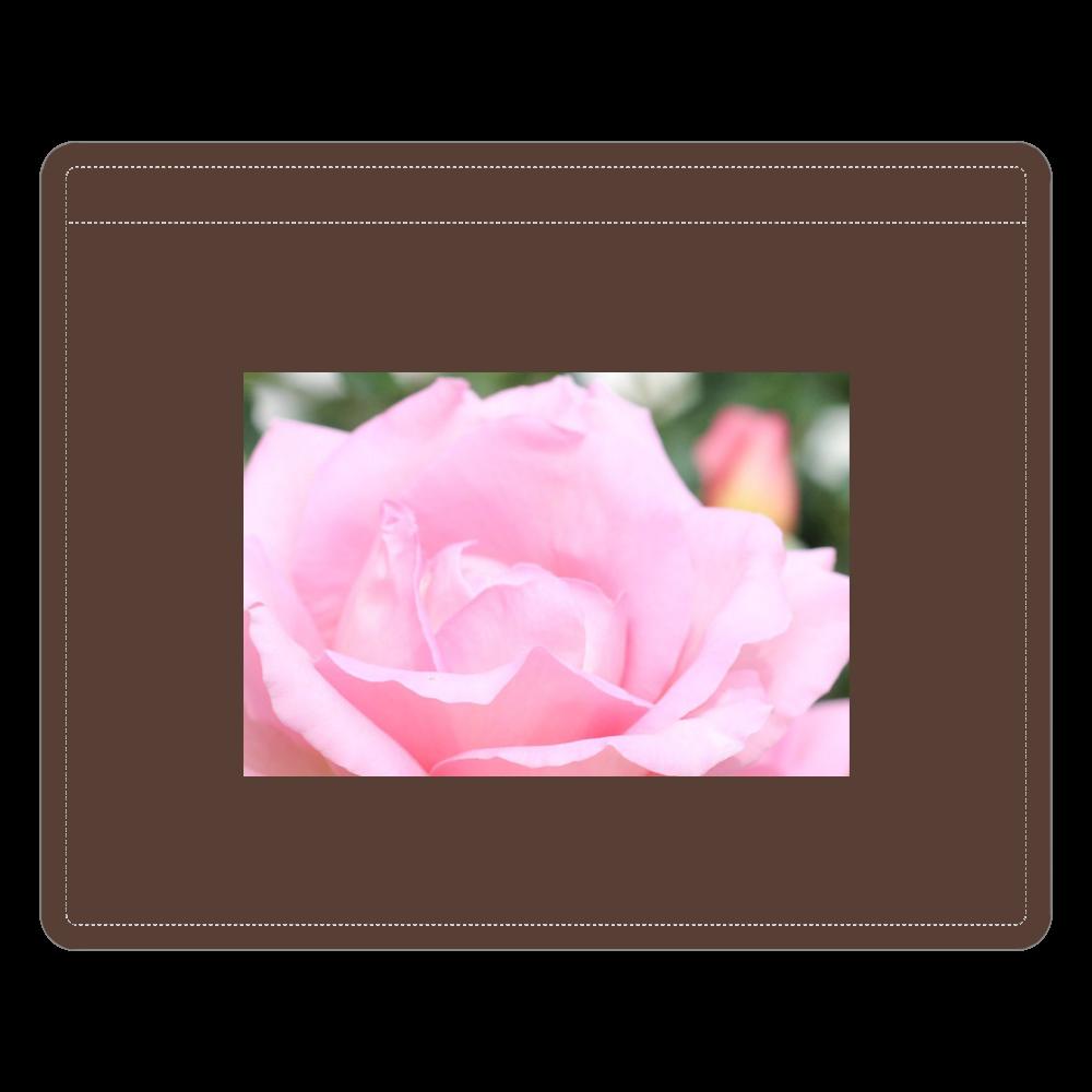 IDカードホルダー/Pink rose レザーIDカードホルダー(ネックストラップ付)