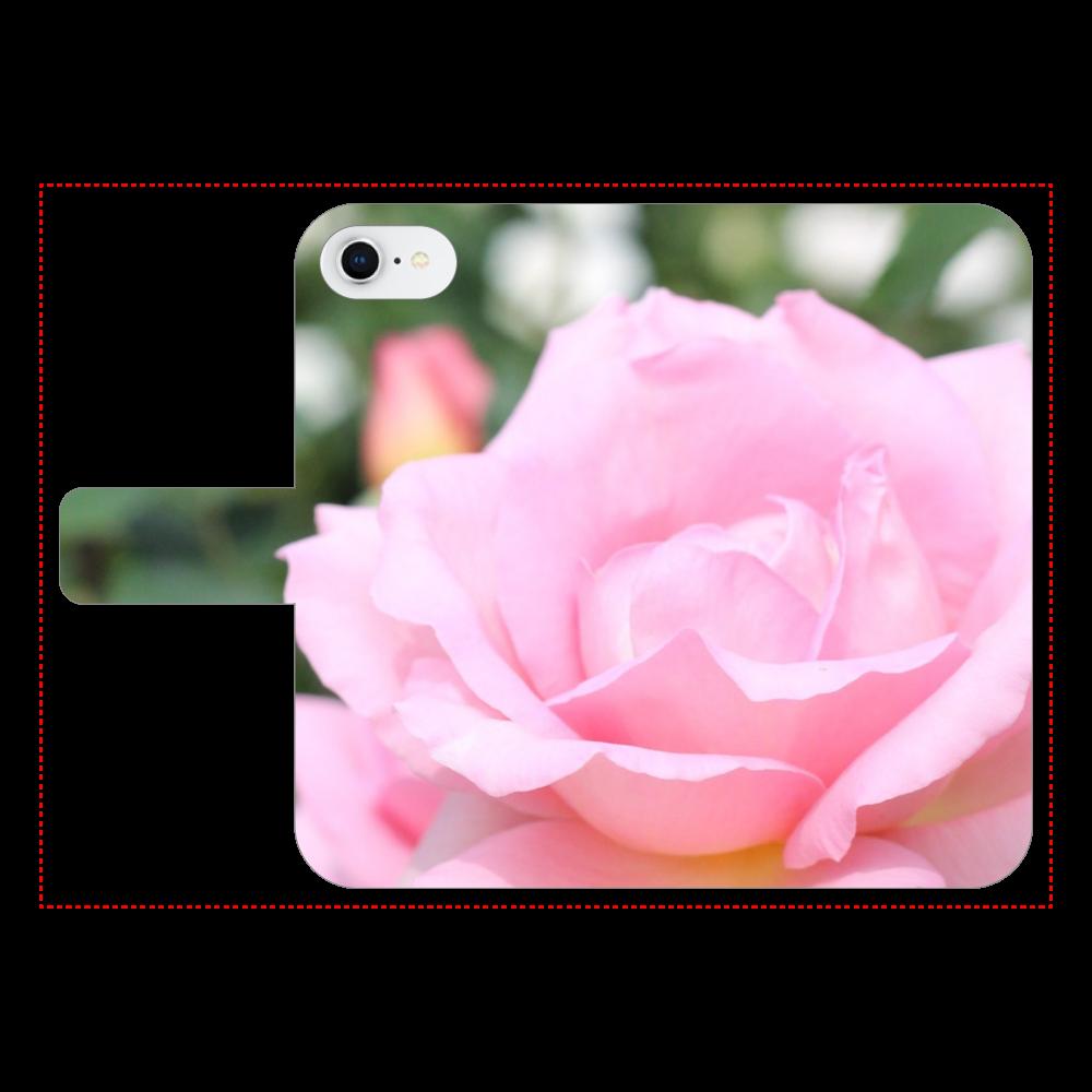 手帳型スマホケース ベルトあり3ポケット iPhone7/Pink rose iPhone7 手帳型スマホケース ベルトあり3ポケット