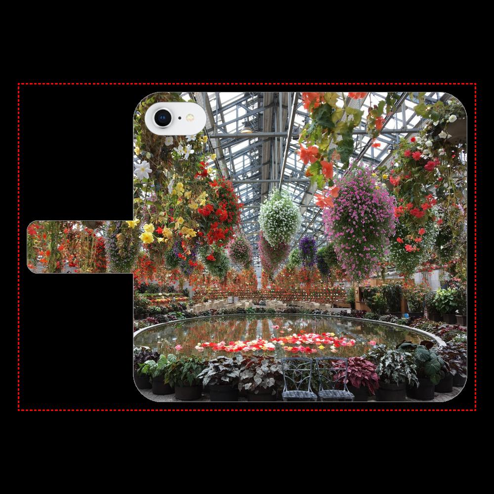 iPhone手帳型スマホケース ベルトあり3ポケット iPhone7/Begonia garden iPhone7 手帳型スマホケース ベルトあり3ポケット