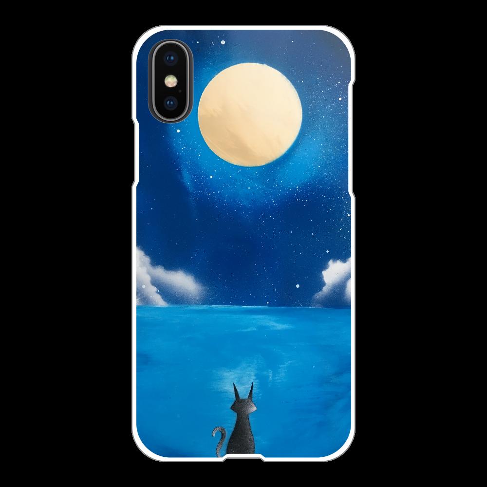 満月と猫 Black Cat Under Full Moon  スマホケース iPhoneX/Xs(白)