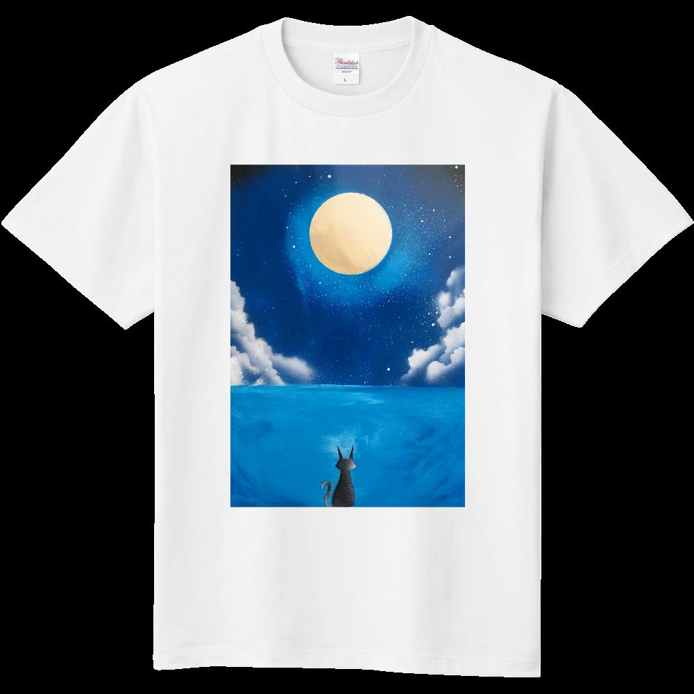 満月と猫 Black Cat Under Full Moon  Tシャツ 定番Tシャツ