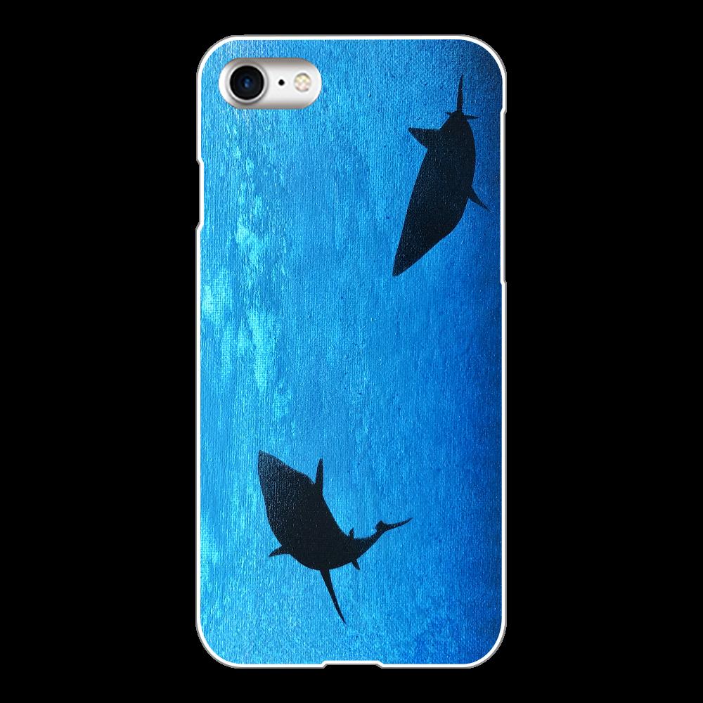 潜む鮫 スマホケース iPhone8(白)