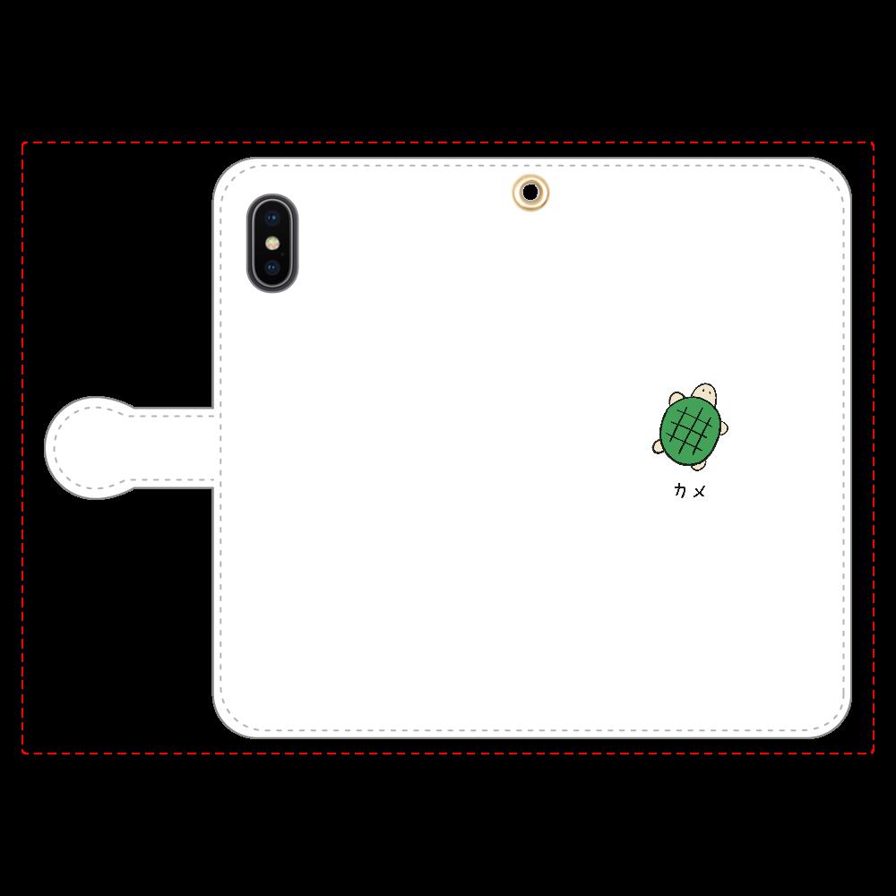カメさん 手帳型スマホケース iPhoneX/Xs 手帳型スマホケース