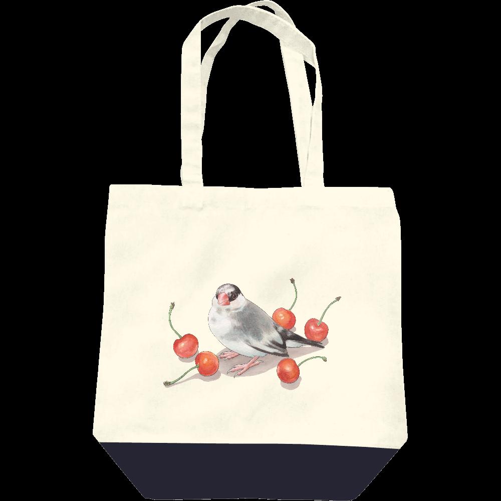 文鳥とサクランボトートバッグ レギュラーキャンバストートバッグ(M)