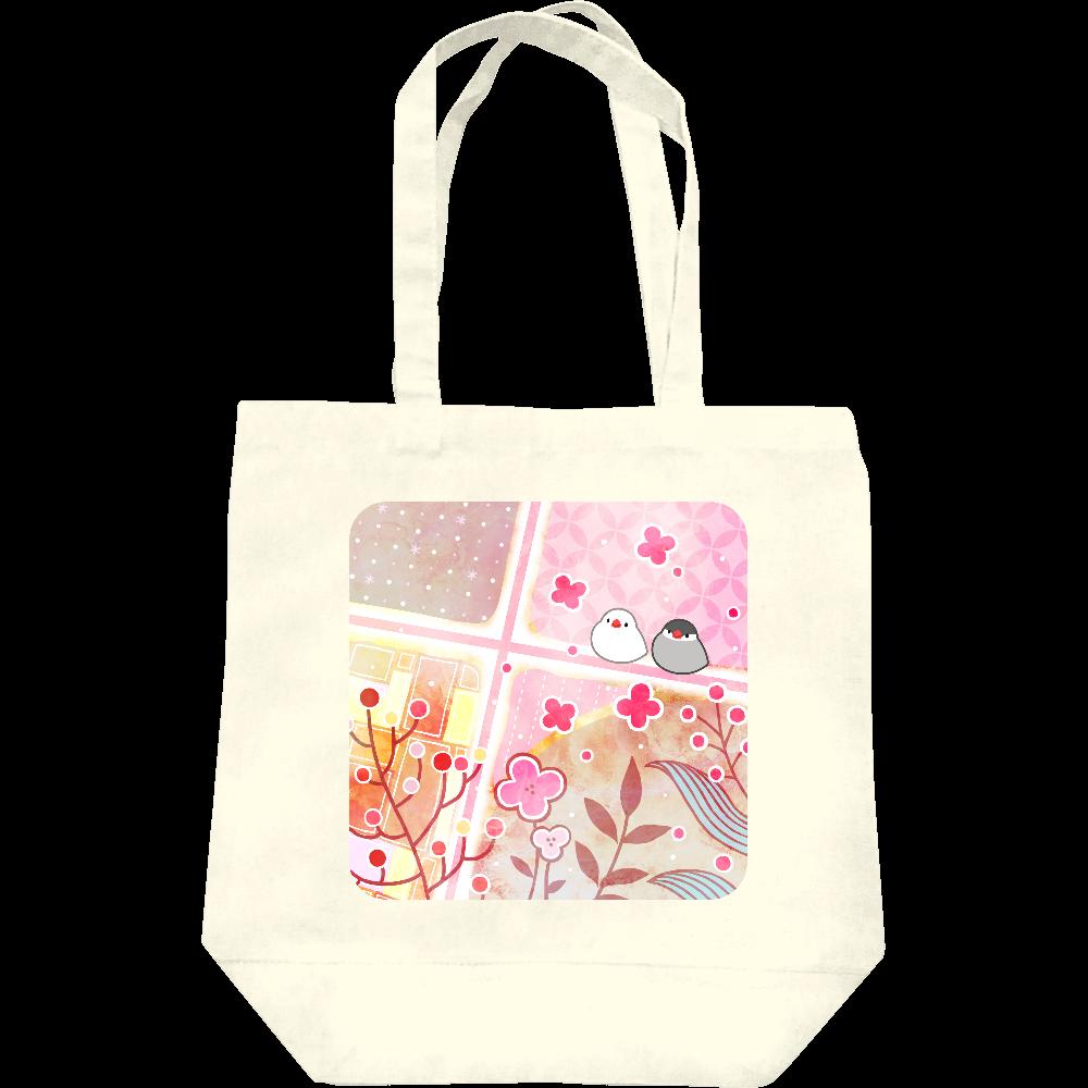 文鳥と春トートバッグ レギュラーキャンバストートバッグ(M)