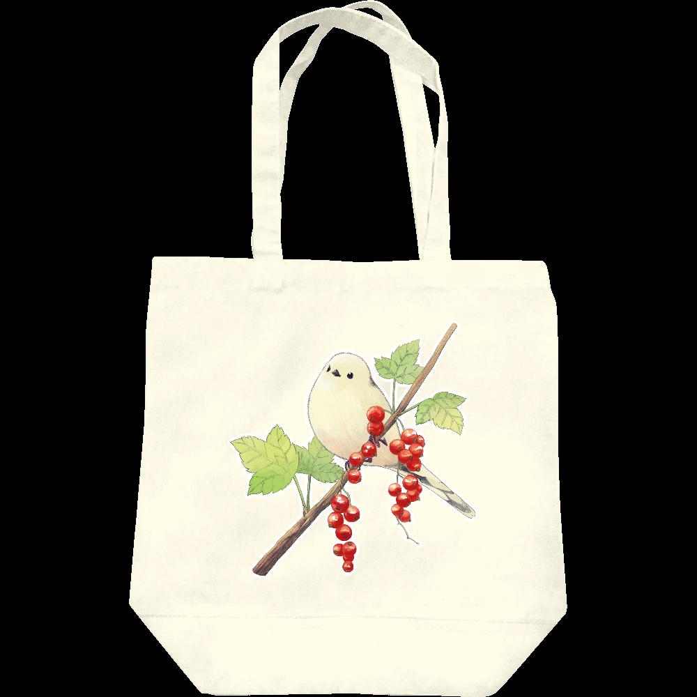 シマエナガと赤い実トートバッグ レギュラーキャンバストートバッグ(M)