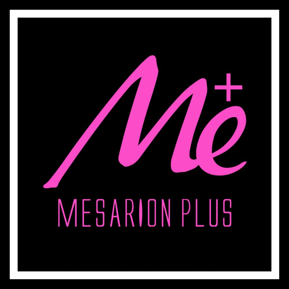 MESARION+ロゴステッカー(ベース白・ピンク、黒印刷) 100mmホワイトステッカー・シール