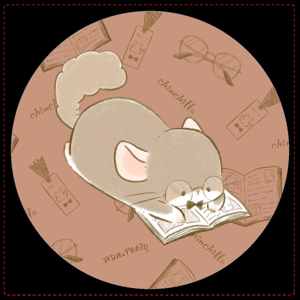 ちょこっとインテリ風チンチラ。コインケース-寝転び読書 コインケース
