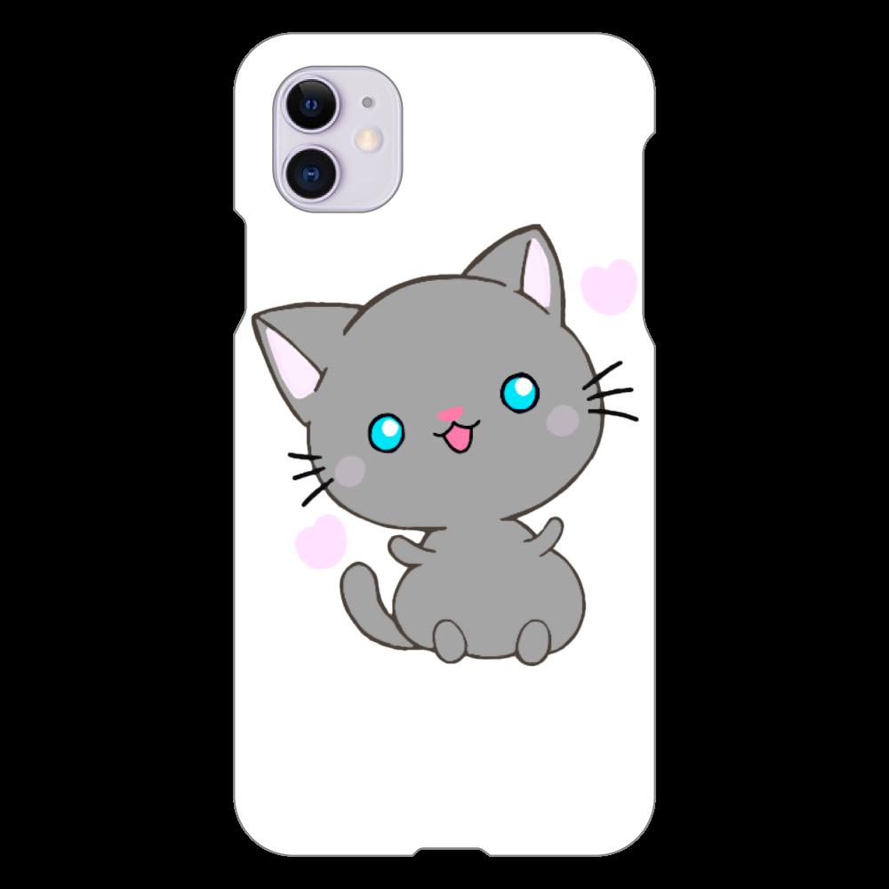 猫 iPhoneケース iPhone 11(白)