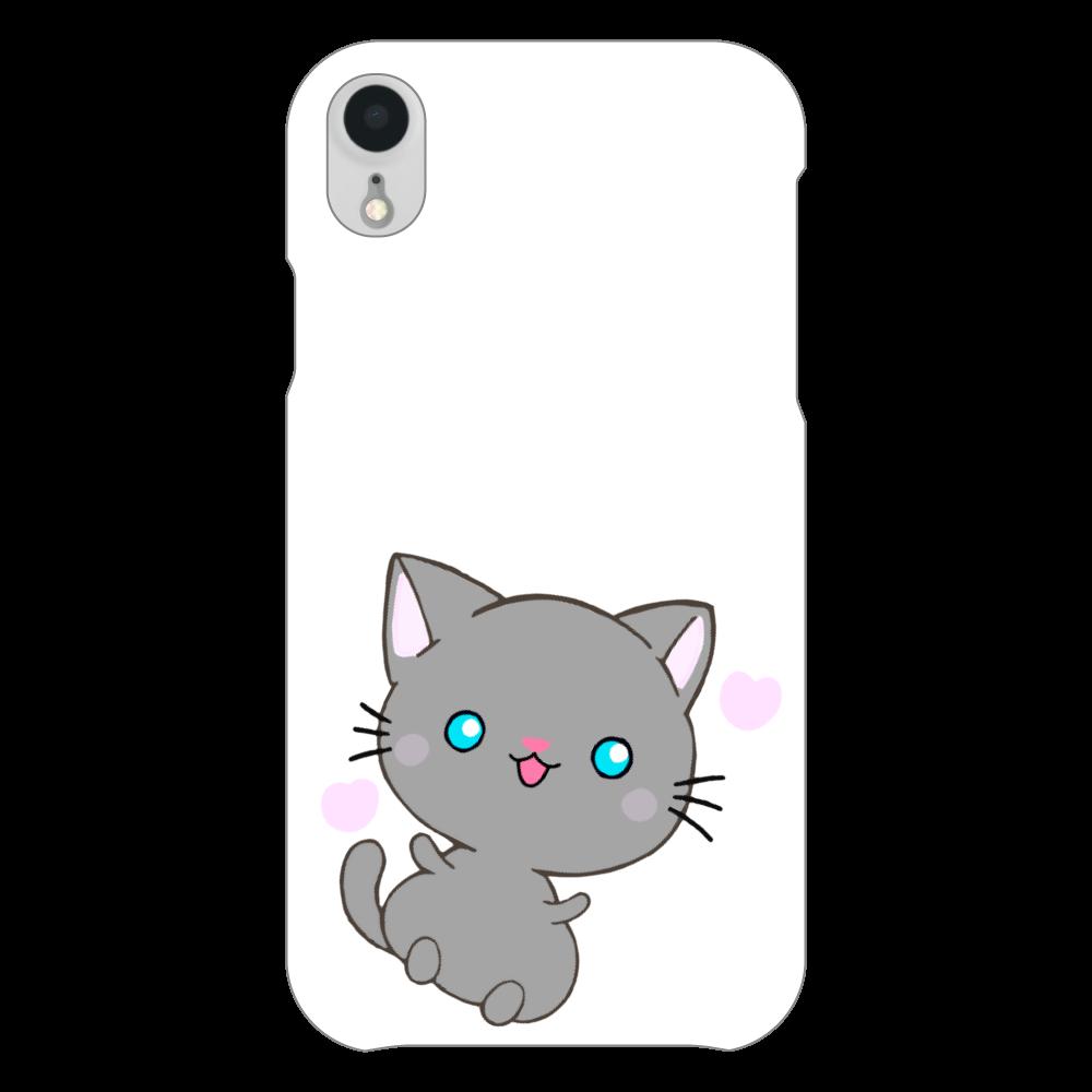 猫 iPhoneケース iPhoneXR(白)
