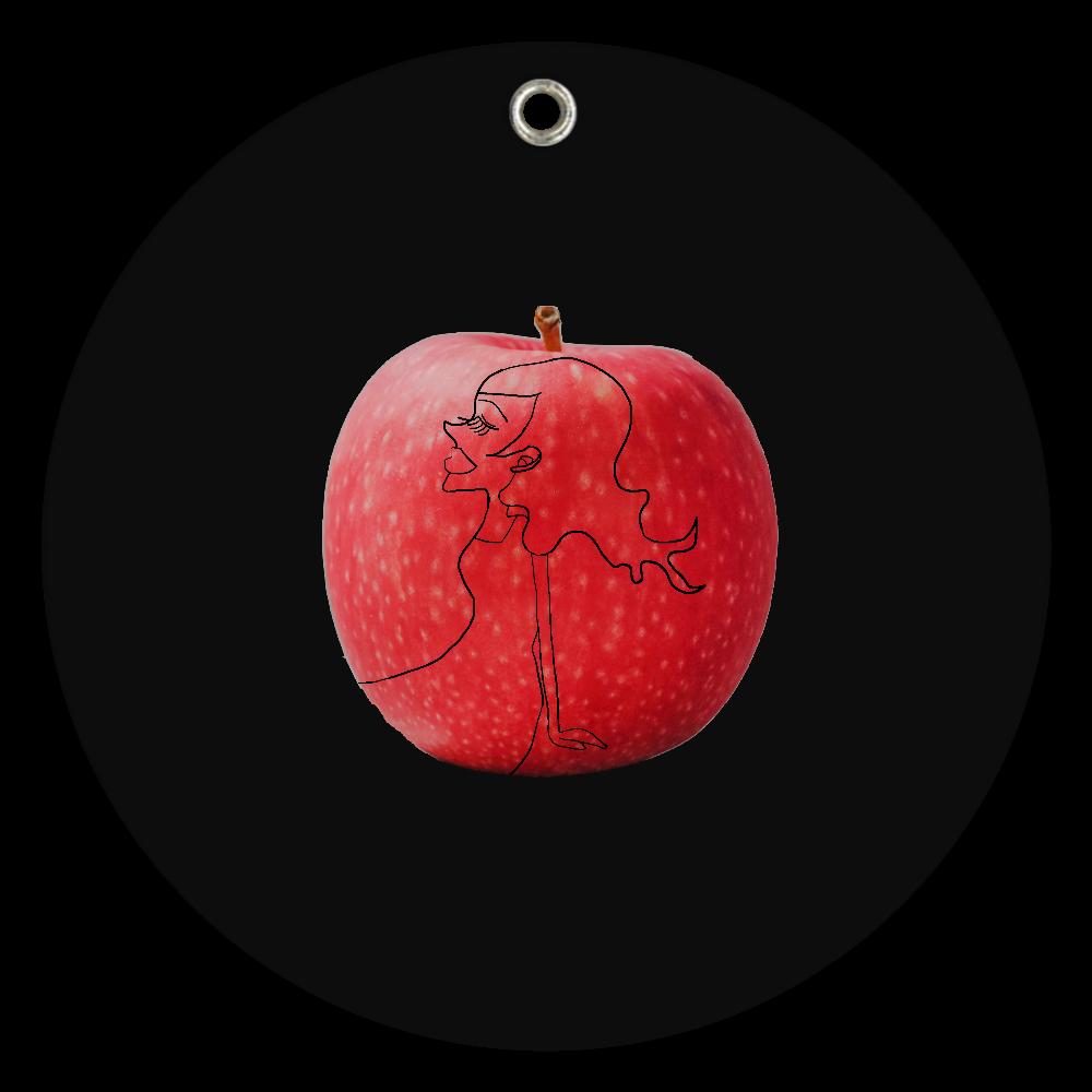 スライド式ミラー(赤いリンゴ) スライドアクリルミラー ラウンド