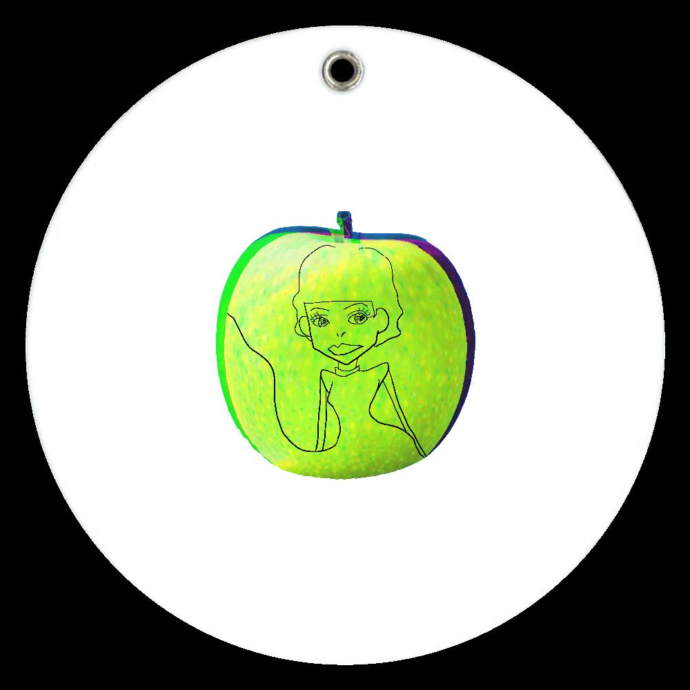 スライド式ミラー(青いリンゴ) スライドアクリルミラー ラウンド