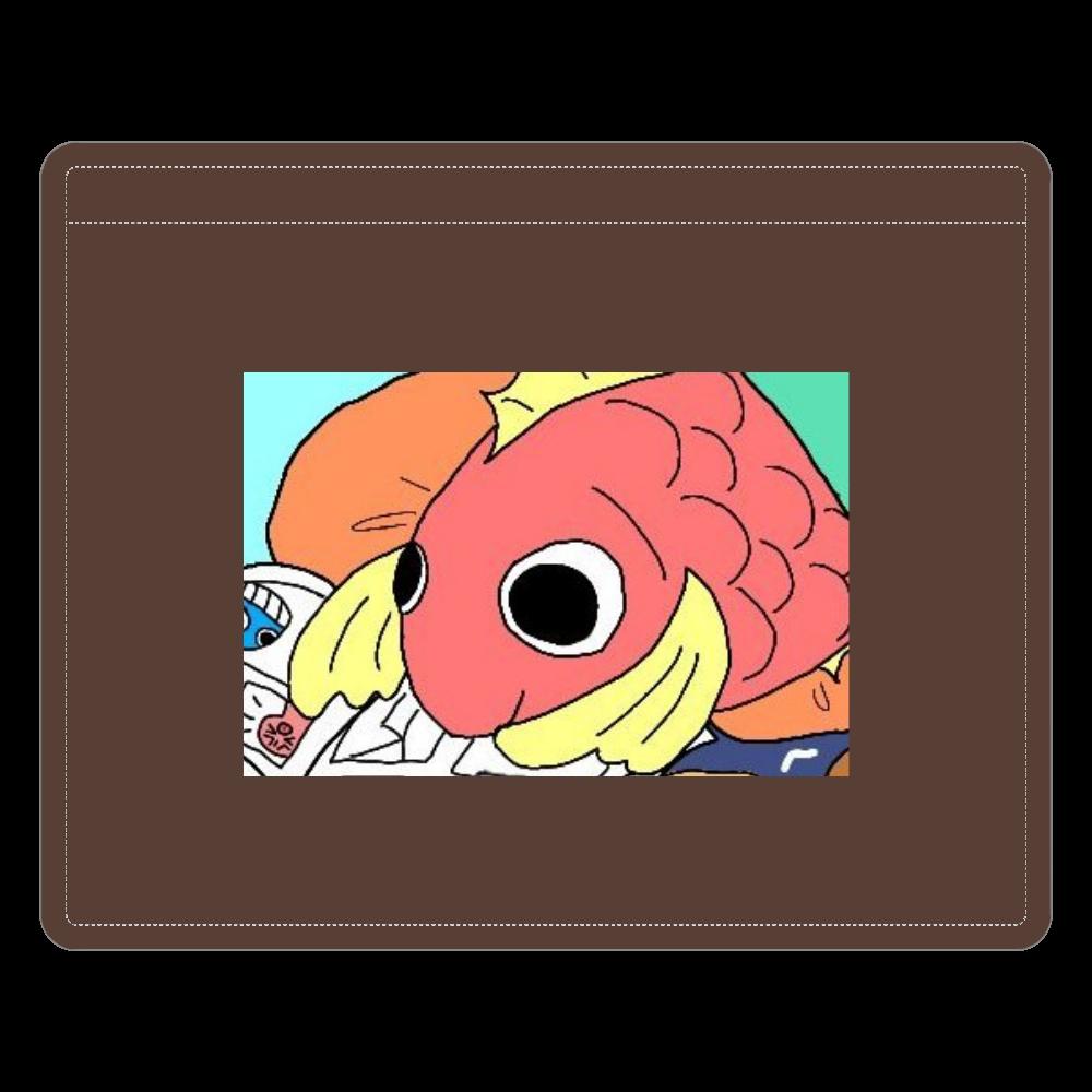 ごろごろし鯛(たい)01-ごろ鯛(たい) レザーIDカードホルダー(ネックストラップ付)