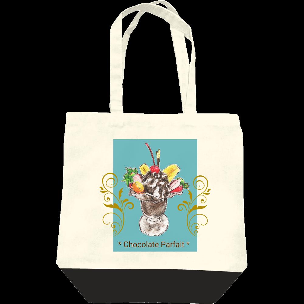 チョコレートパフェ(寒色背景)トートバッグ レギュラーキャンバストートバッグ(M)