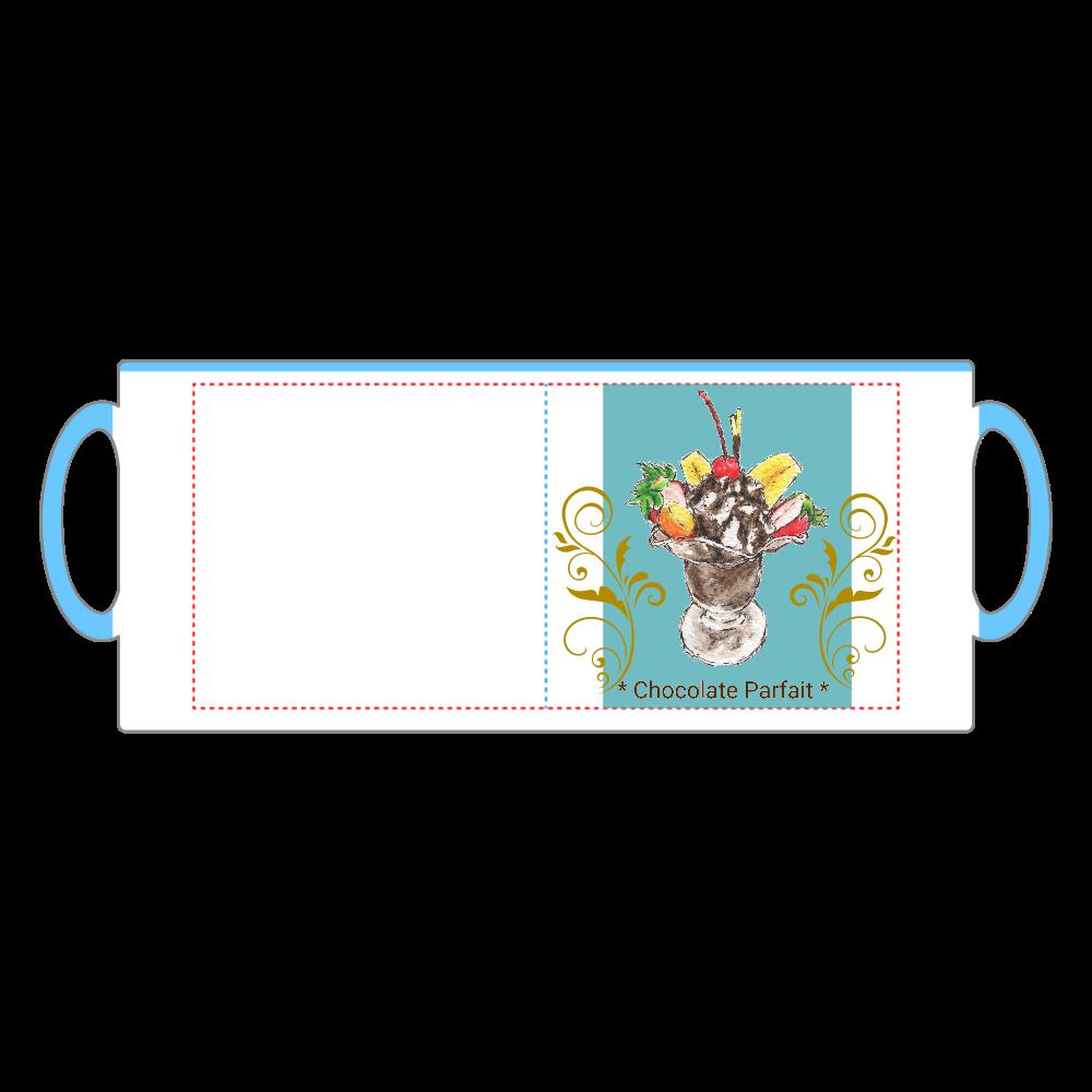 チョコレートパフェ(寒色背景)マグカップ 2トーンマグカップ