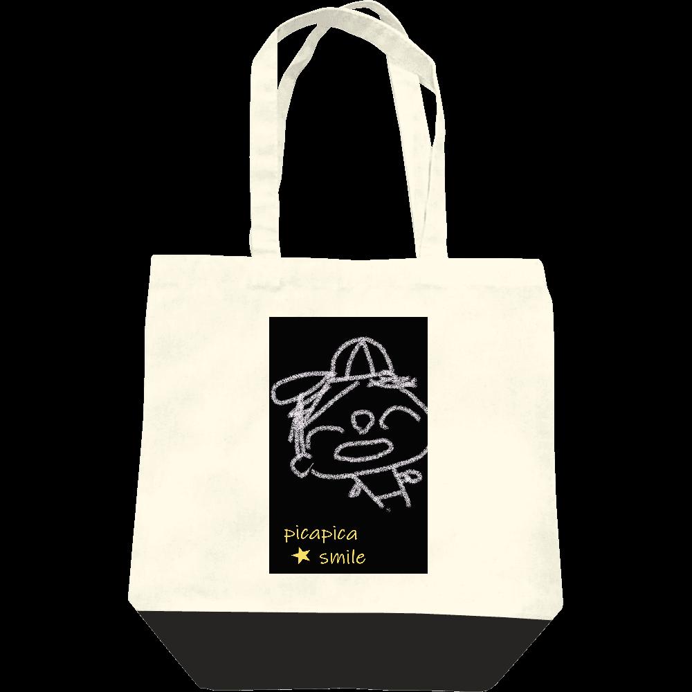 ピカスマボーイ・野球少年(トートバッグM・ナチュラル×ブラック) レギュラーキャンバストートバッグ(M)