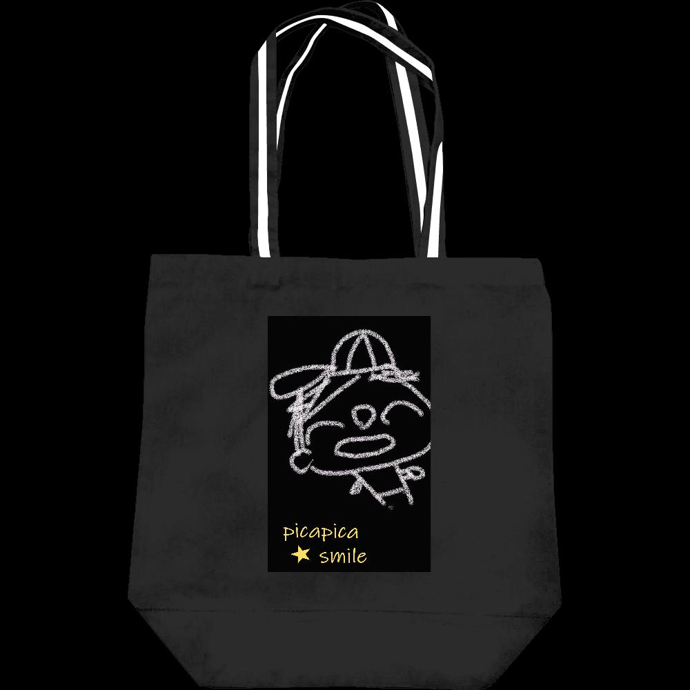 ピカスマボーイ・野球少年(トートバッグM・ブラック×ブラック&ホワイト) レギュラーキャンバストートバッグ(M)