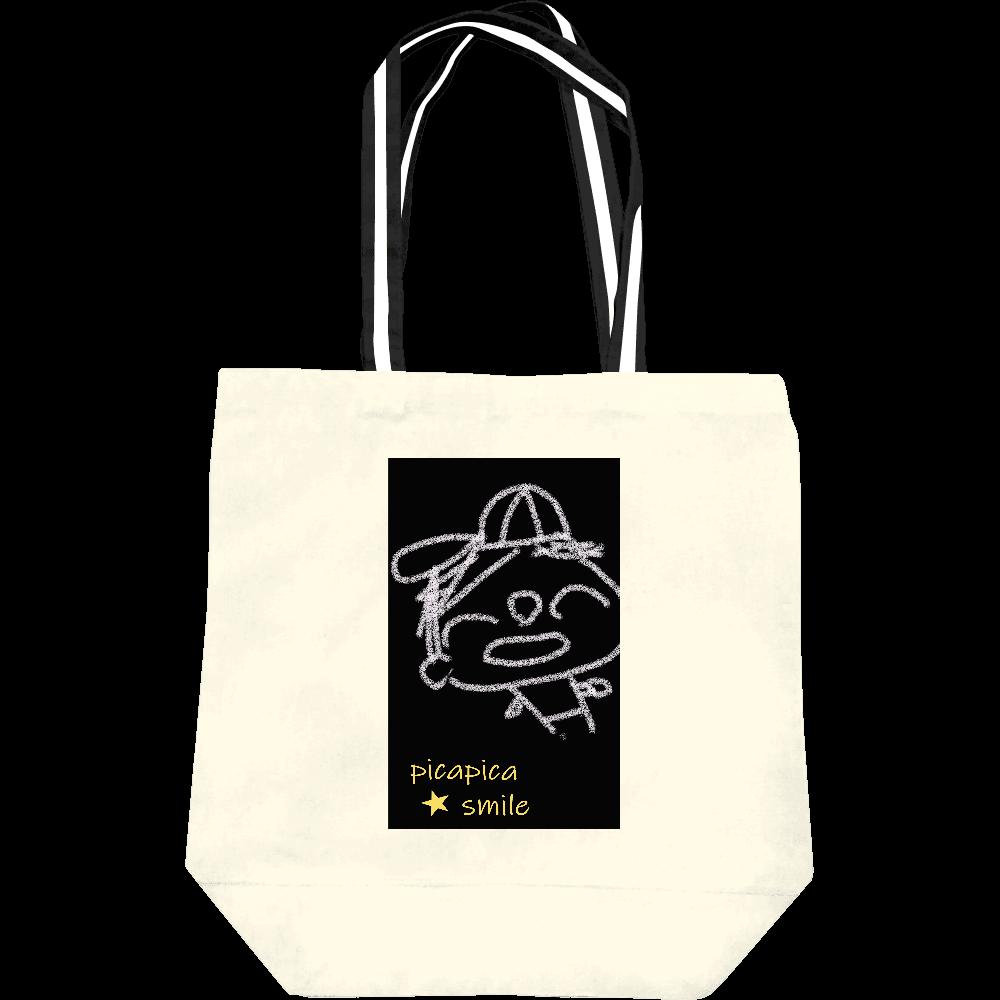 ピカスマボーイ・野球少年(トートバッグM・ナチュラル×ブラック&ホワイト) レギュラーキャンバストートバッグ(M)