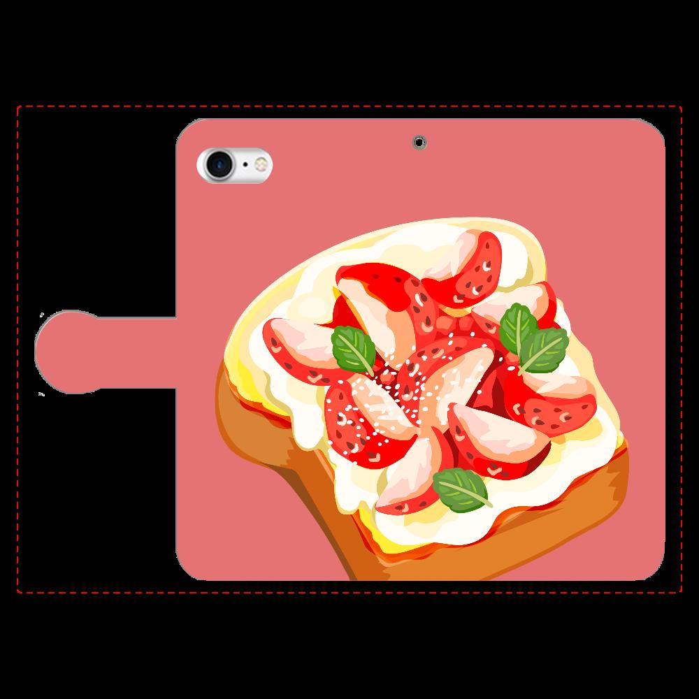 オープンサンドのスマホケース iPhone8 手帳型スマホケース