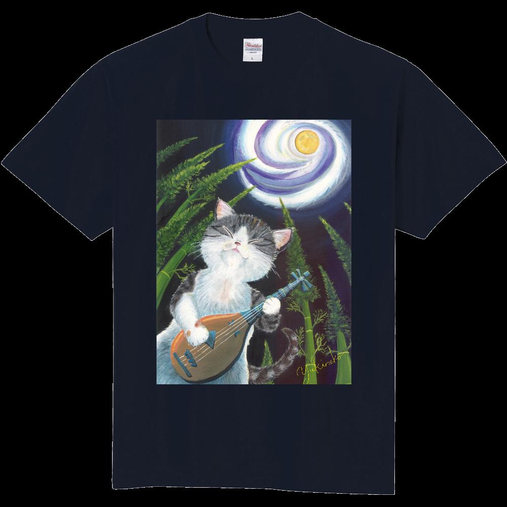 月は琵琶の音に誘われて♪ 背中、両袖デザイン有 定番Tシャツ