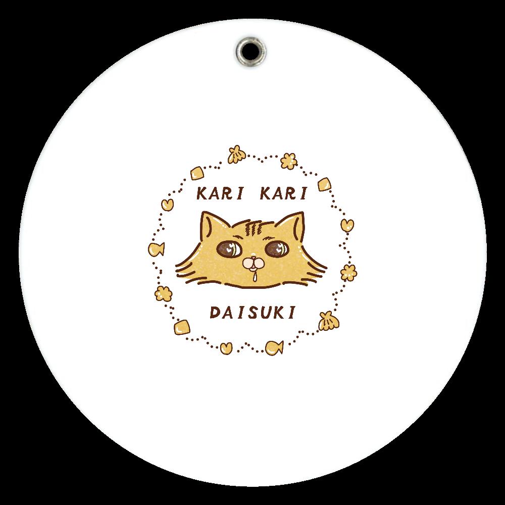 カリカリ大好きチンチラ猫 スライドアクリルミラー ラウンド