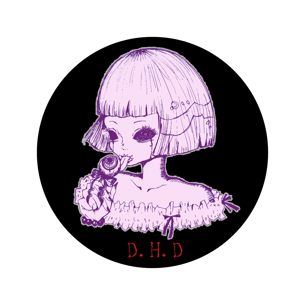 【レディ】56mm缶バッジ(枠紫) 56㎜缶バッジ