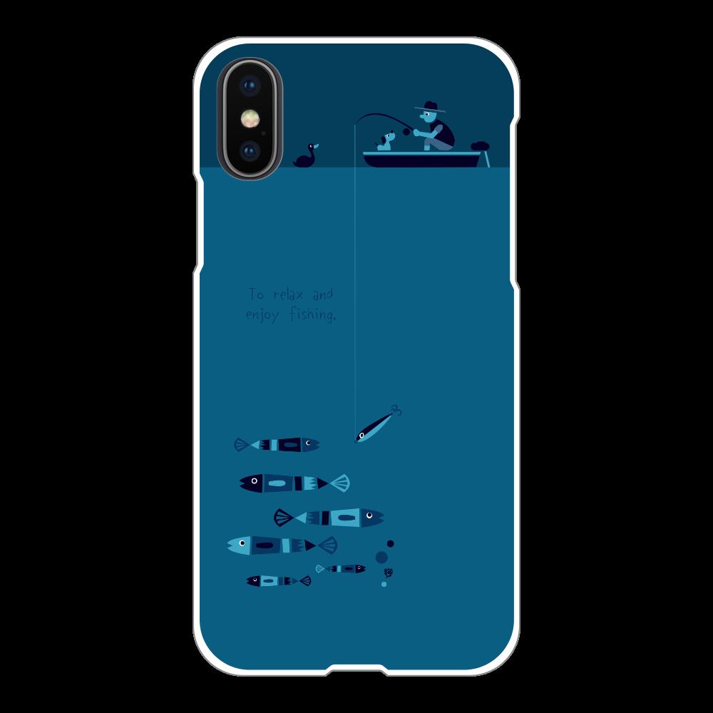 のんびりと夜釣りを楽しむ iPhoneX/Xs(白)