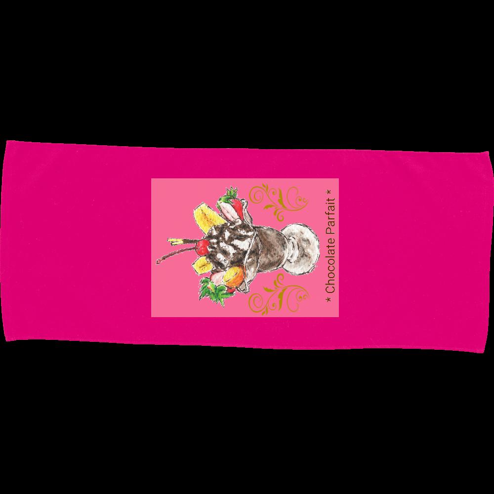 チョコレートパフェ(暖色背景)フェイスタオル カラーフェイスタオル