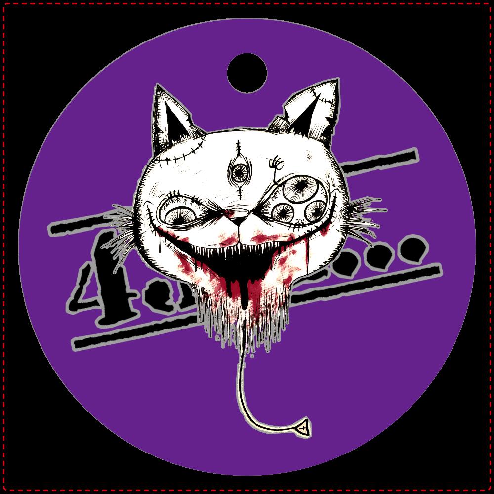 【風船猫】レザーキーホルダー丸型(モノトーン) レザーキーホルダー(丸型)