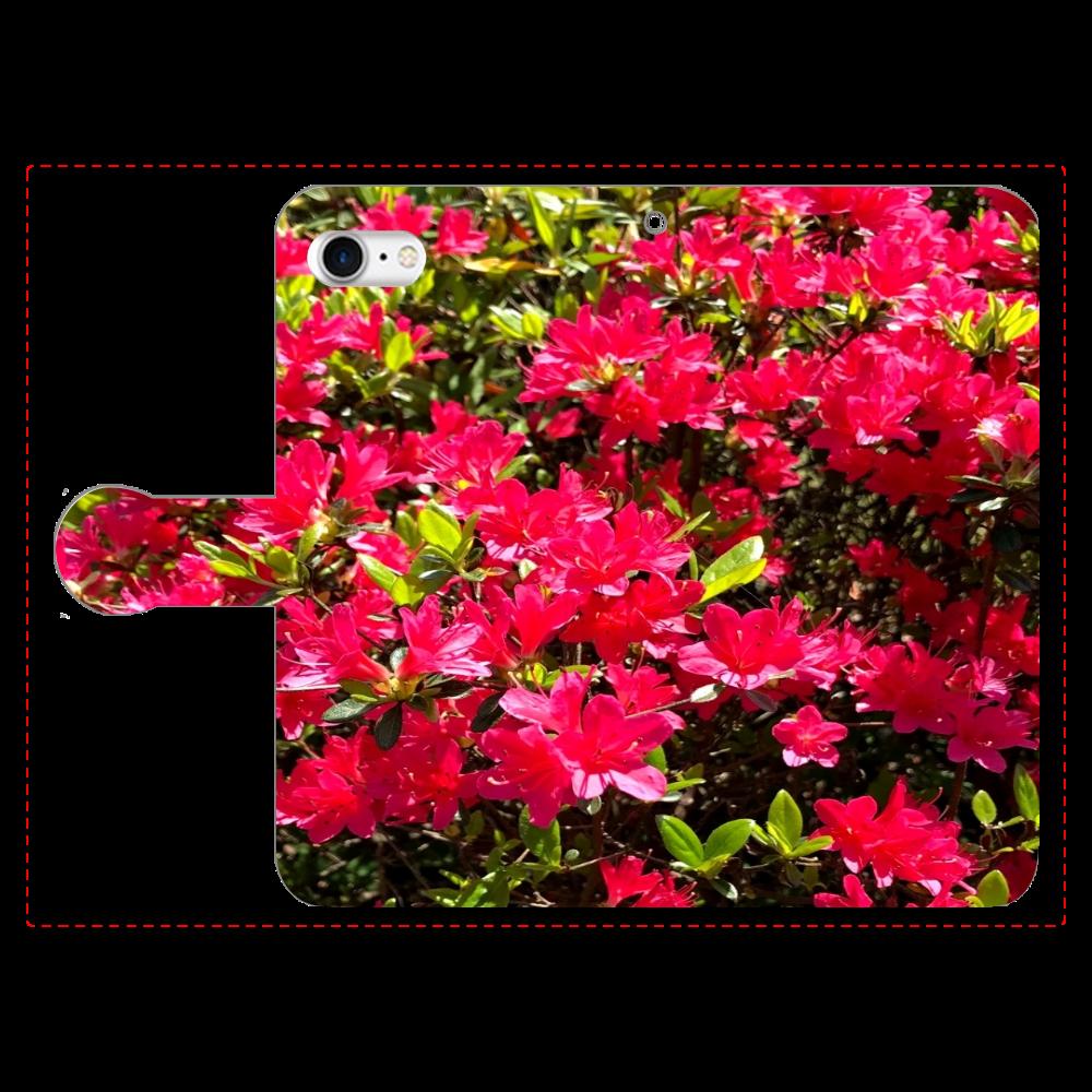 赤い花 iPhoneSE2 手帳型スマホケース