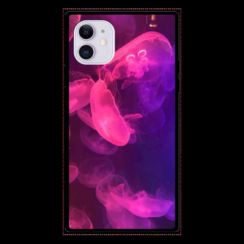 クラゲ iPhone11 スクエア型強化ガラスケース