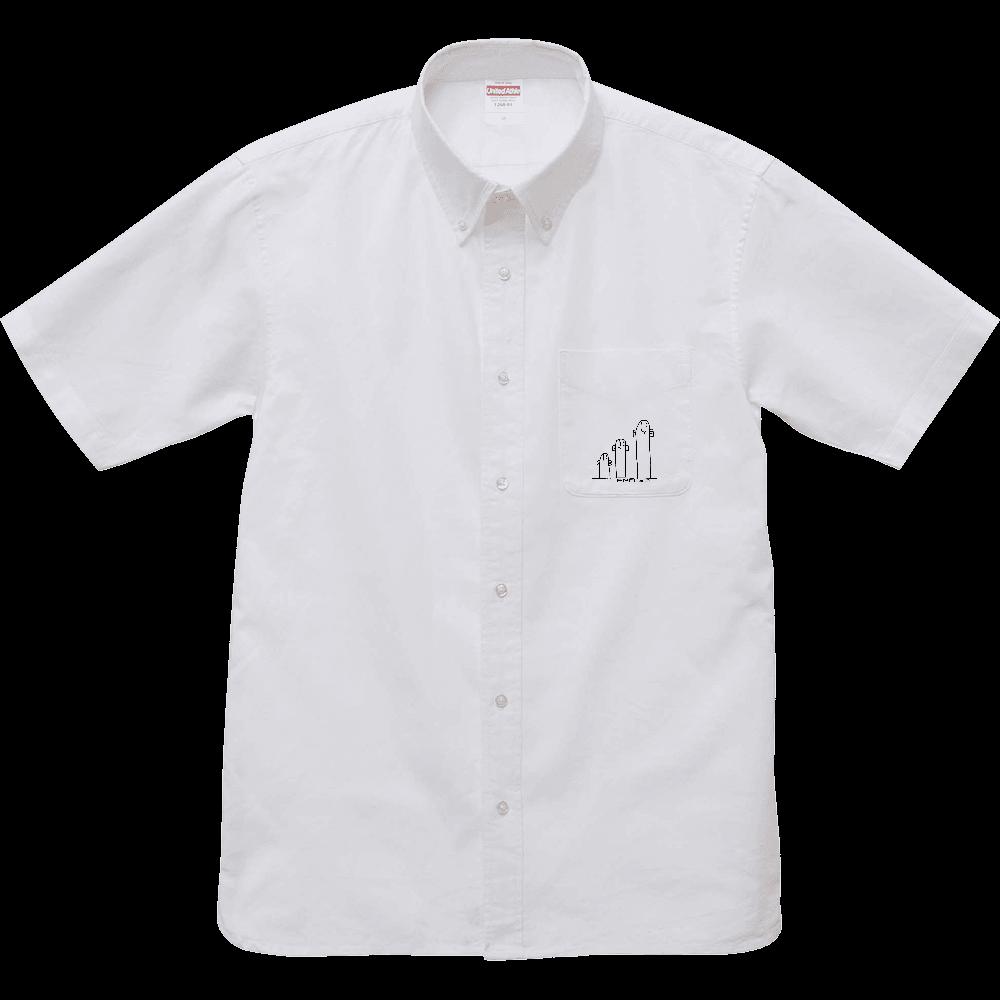 モノクロANAGO Yシャツ オックスフォードボタンダウンショートスリーブシャツ