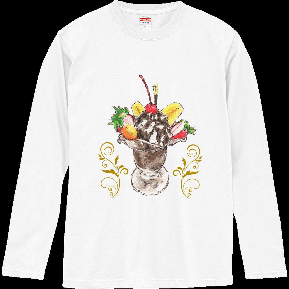 チョコレートパフェ(背景無し)長袖Tシャツ※カラー選択可 ロングスリーブTシャツ